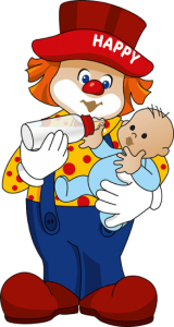 Clown Happy Club Kunterbunt mit Baby