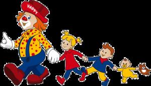 Clown Happy Club Kunterbunt mit Kindern