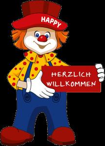 Clown Happy Club Kunterbunt mit herzlich willkommen Schild
